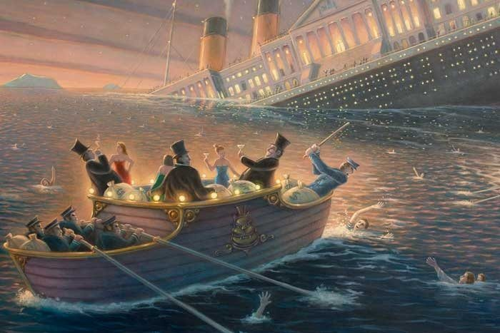 Ship of State, US Capital depicted as the Titanic sinking