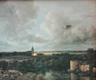 Village Church with Flying Saucer